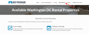 Location of rental search on main page of website